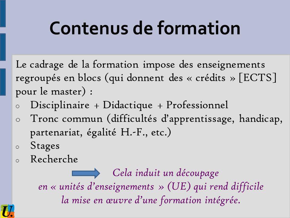 Contenus de formation Le cadrage de la formation impose des enseignements regroupés en blocs (qui donnent des « crédits » [ECTS] pour le master) :